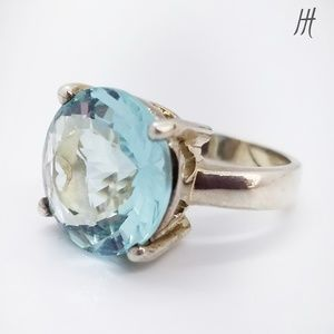 Sterling Silver 925 Aquamarine CZ Ring SZ 6.5